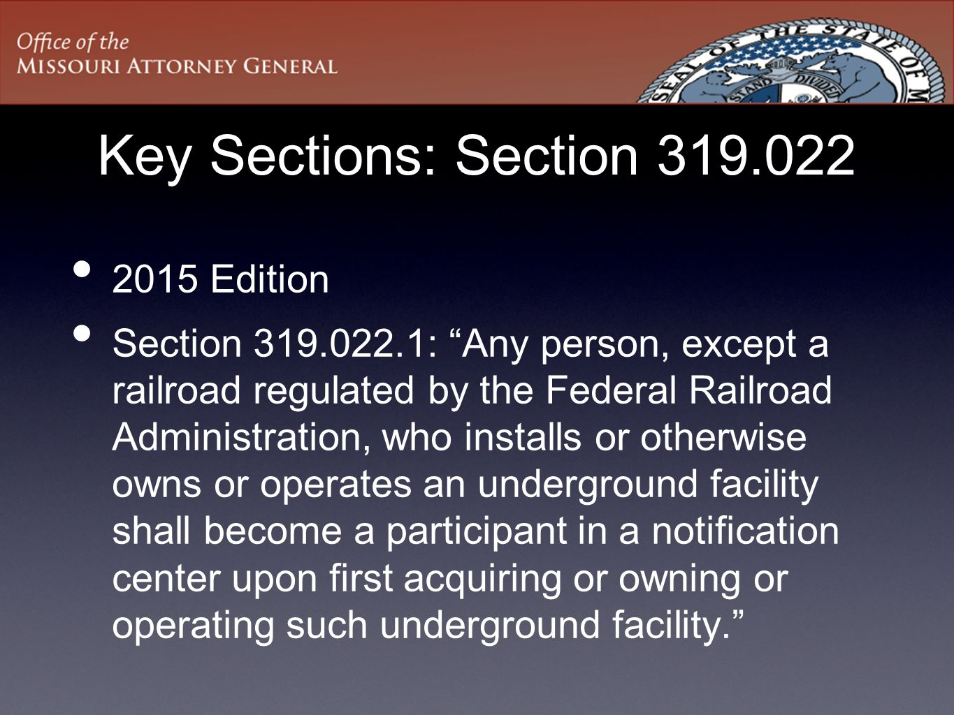 Key Sections: Section 319.022 2015 Edition