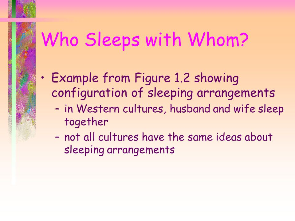 Who Sleeps with Whom Example from Figure 1.2 showing configuration of sleeping arrangements. in Western cultures, husband and wife sleep together.