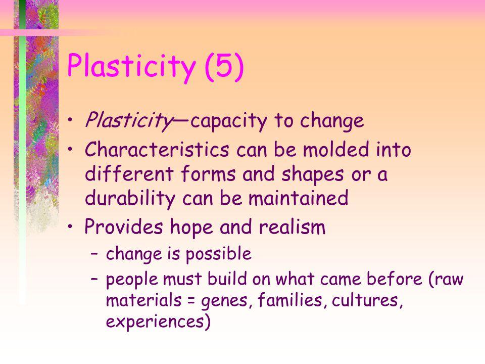 Plasticity (5) Plasticity—capacity to change