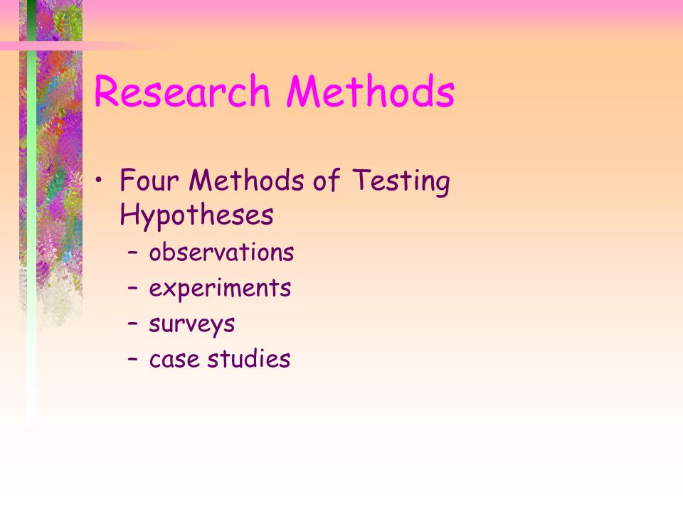 Research Methods Four Methods of Testing Hypotheses observations