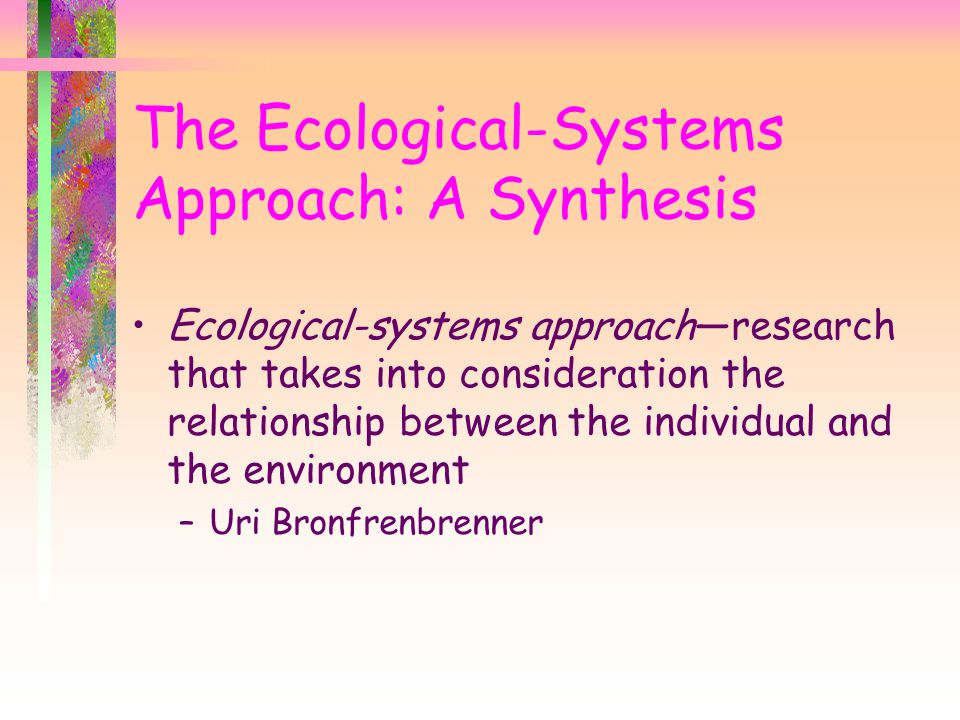 The Ecological-Systems Approach: A Synthesis