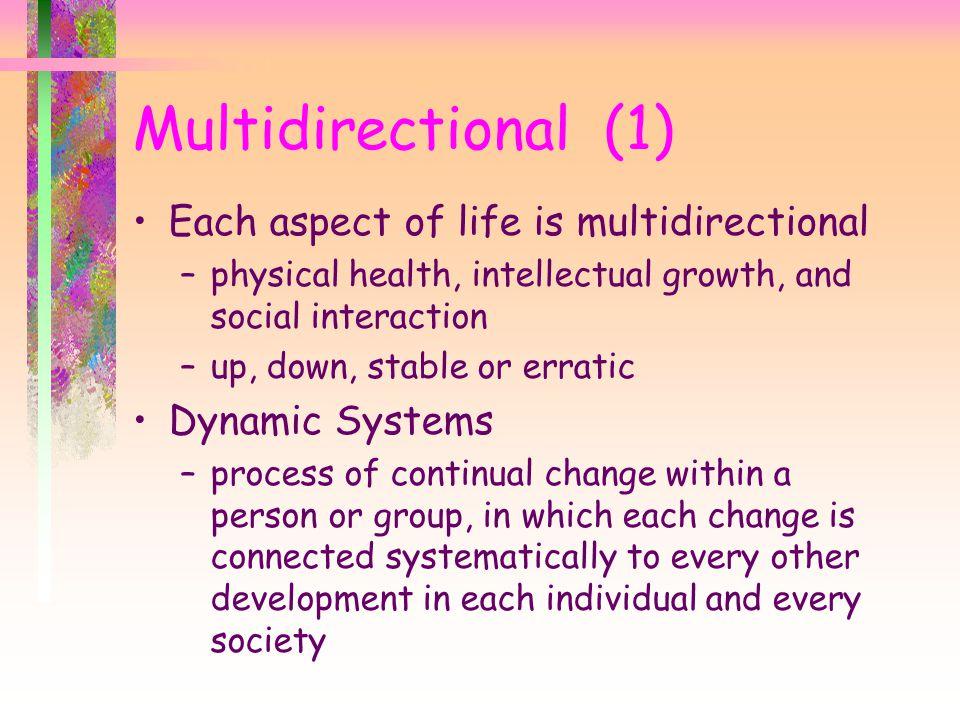 Multidirectional (1) Each aspect of life is multidirectional