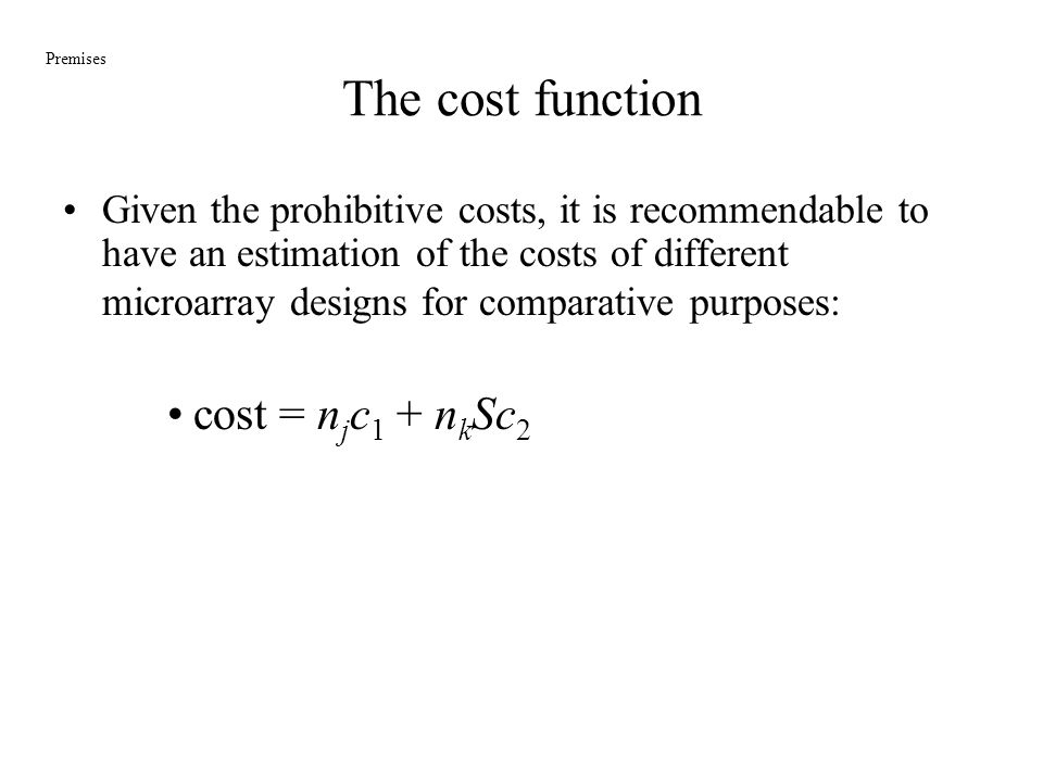 The cost function cost = njc1 + nkSc2