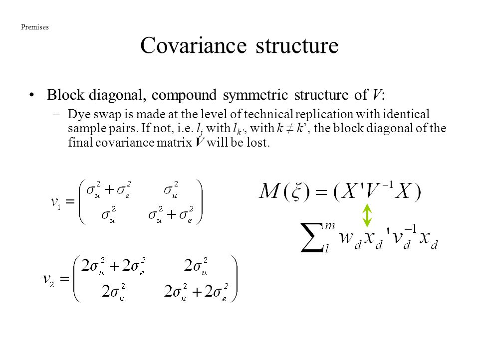 Covariance structure Premises. Block diagonal, compound symmetric structure of V: