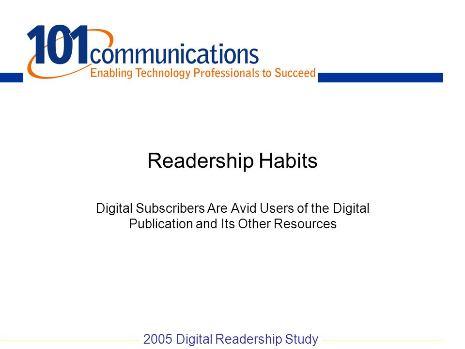 2005 Digital Readership Study