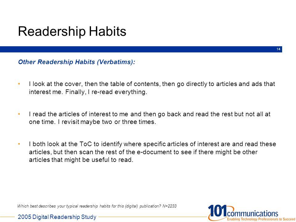 Readership Habits Other Readership Habits (Verbatims):
