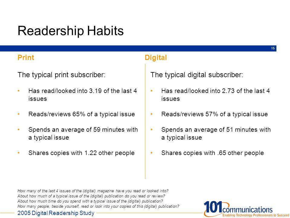 Readership Habits Print Digital The typical print subscriber: