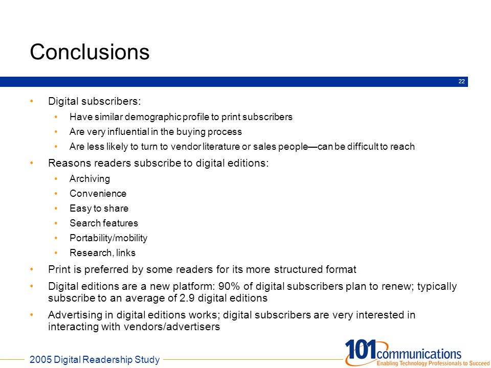 Conclusions Digital subscribers:
