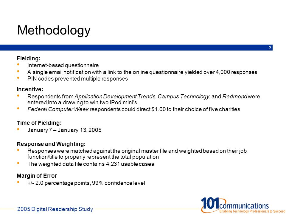 Methodology Fielding: Internet-based questionnaire
