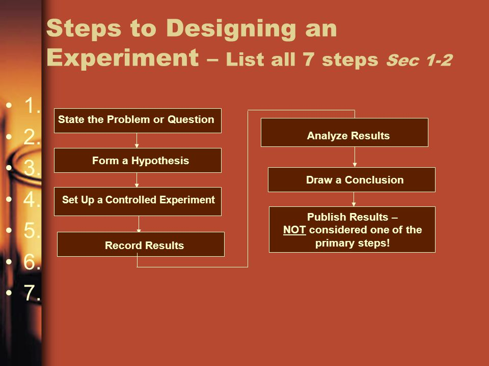 Steps to Designing an Experiment – List all 7 steps Sec 1-2