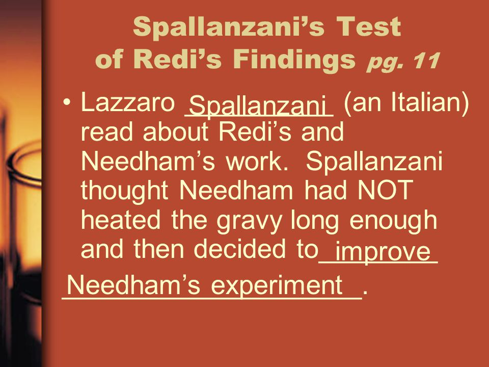Spallanzani's Test of Redi's Findings pg. 11