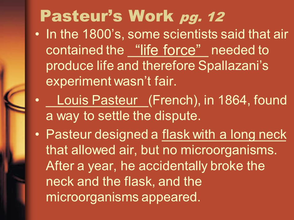 Pasteur's Work pg. 12 life force