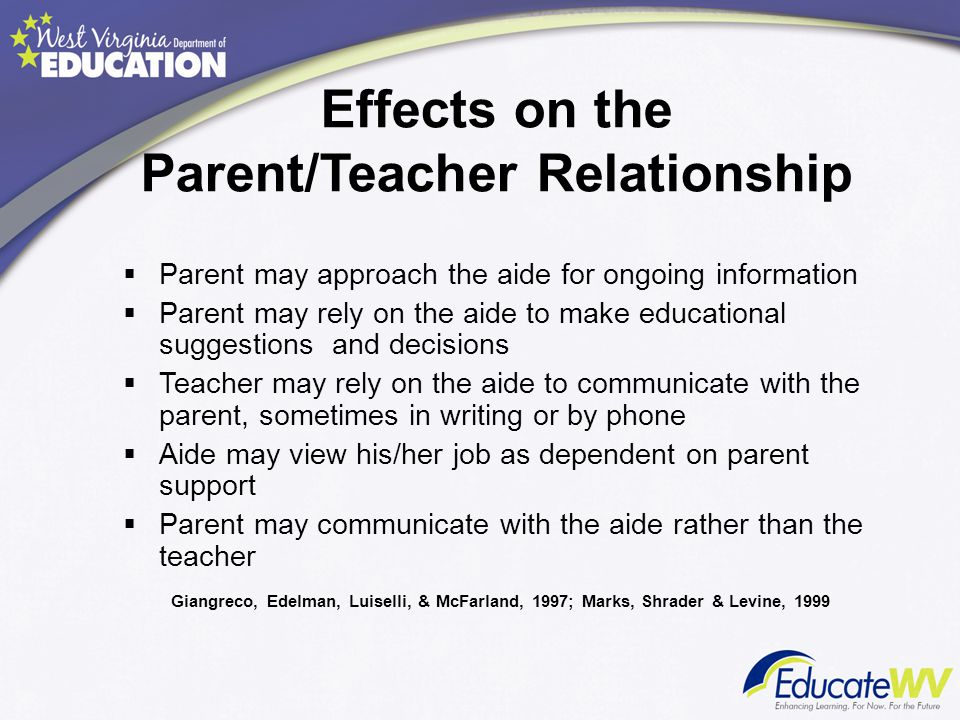 Effects on the Parent/Teacher Relationship