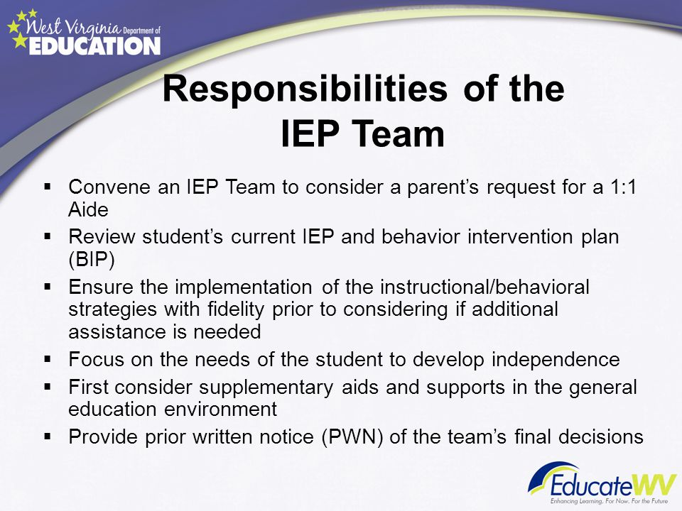 Responsibilities of the IEP Team