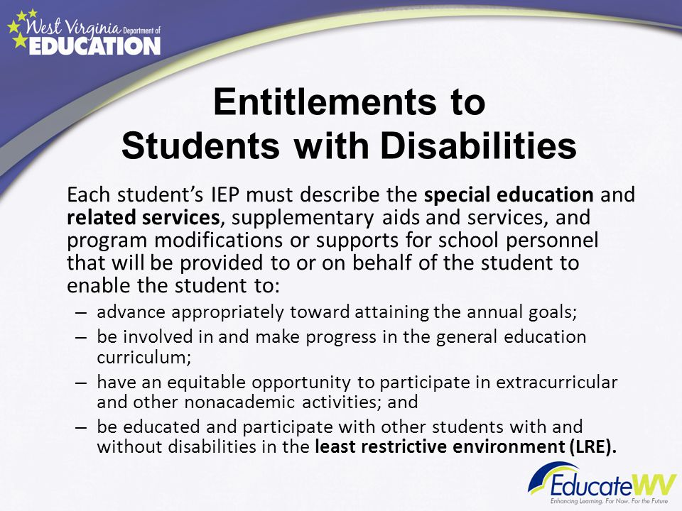 Entitlements to Students with Disabilities
