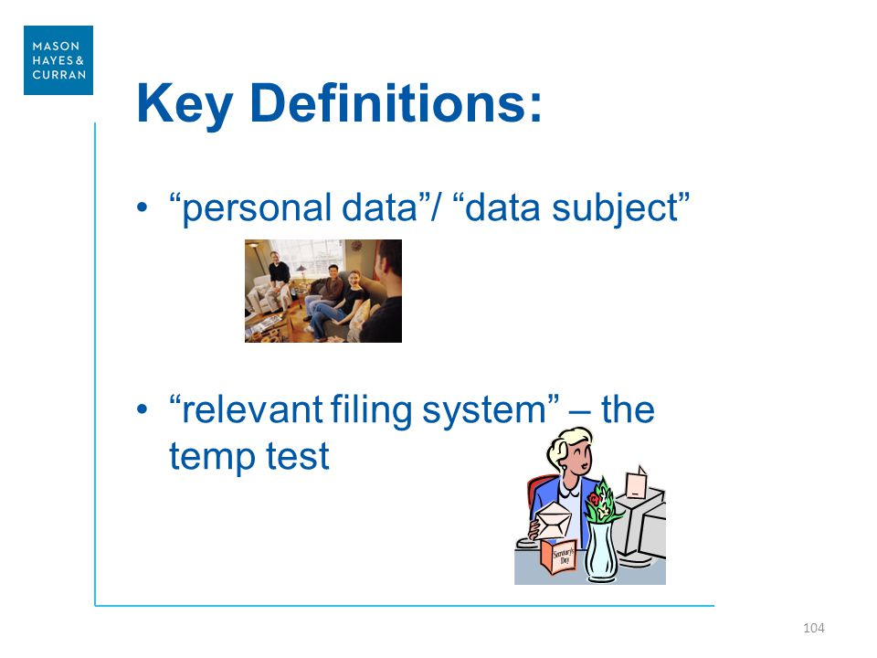 Key Definitions: personal data / data subject