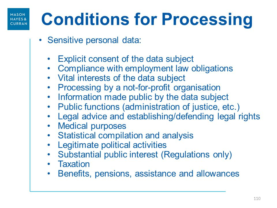 Conditions for Processing