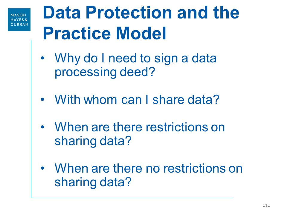 Data Protection and the Practice Model