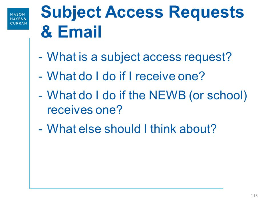 Subject Access Requests & Email