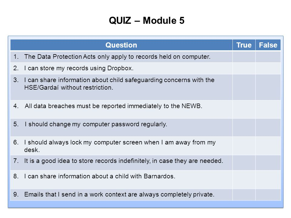 QUIZ – Module 5 Question True False