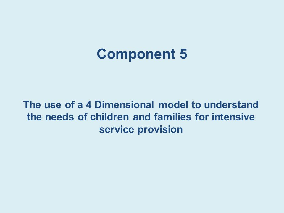 Component 5 The use of a 4 Dimensional model to understand the needs of children and families for intensive service provision.