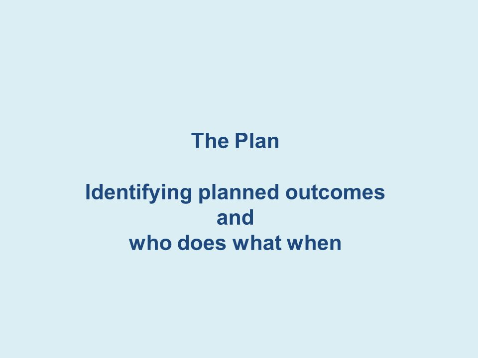 Identifying planned outcomes