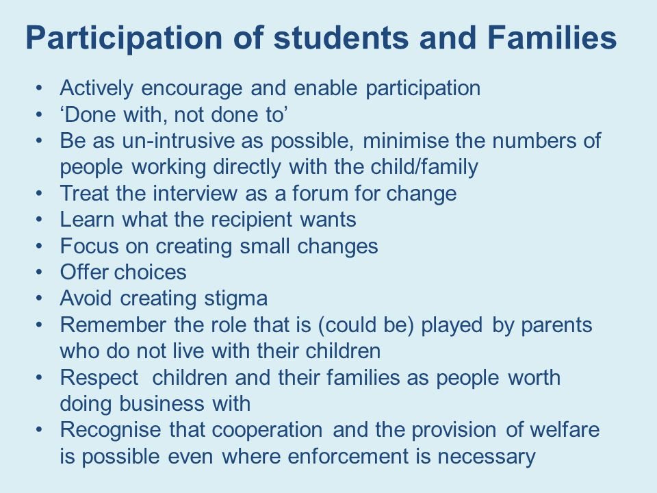 Participation of students and Families