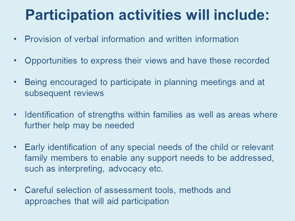 Participation activities will include: