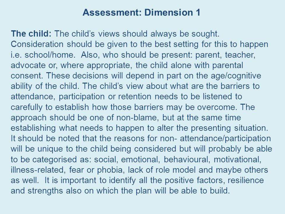 Assessment: Dimension 1