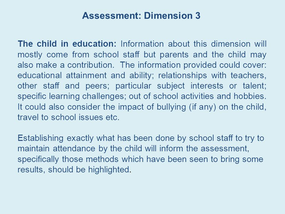 Assessment: Dimension 3