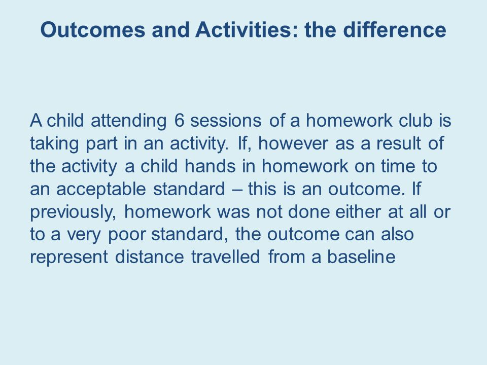 Outcomes and Activities: the difference