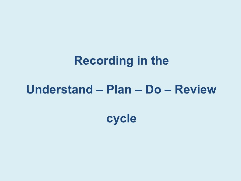Understand – Plan – Do – Review