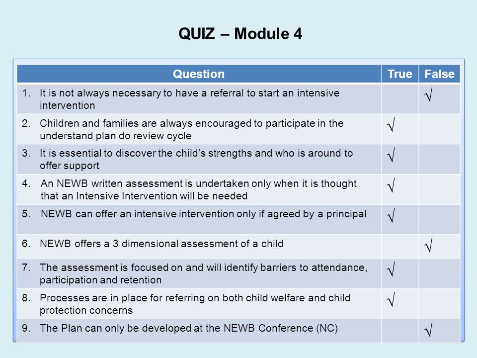 QUIZ – Module 4 √ Question True False