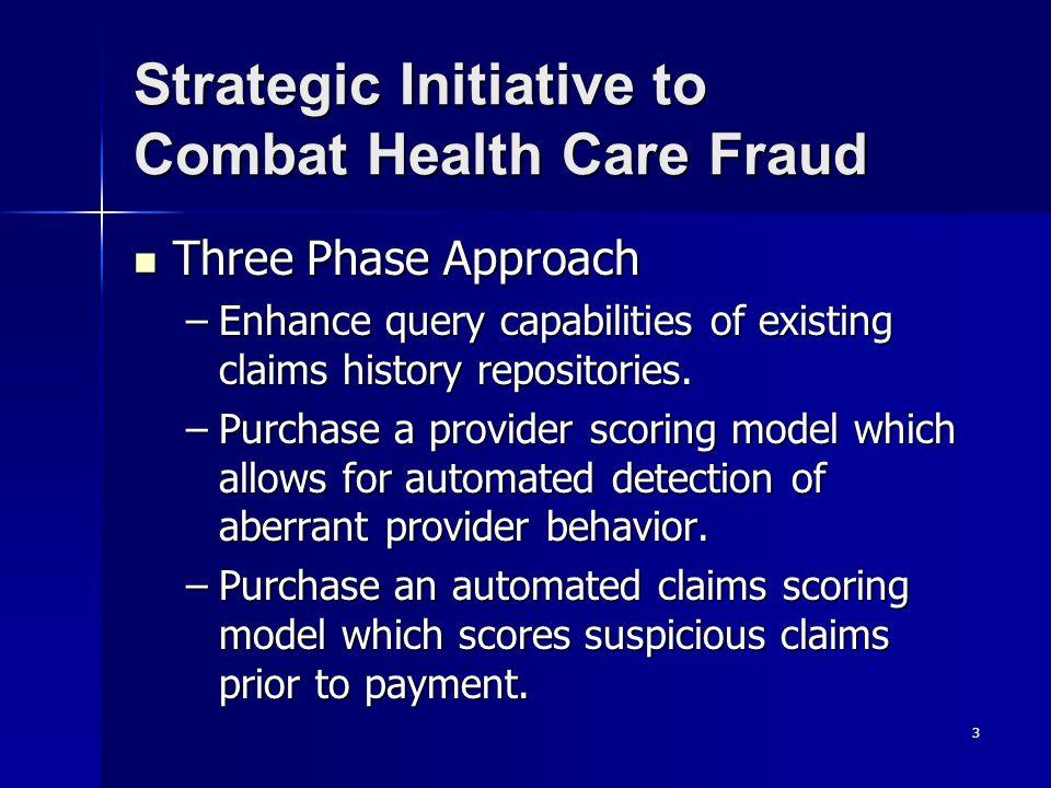 Strategic Initiative to Combat Health Care Fraud