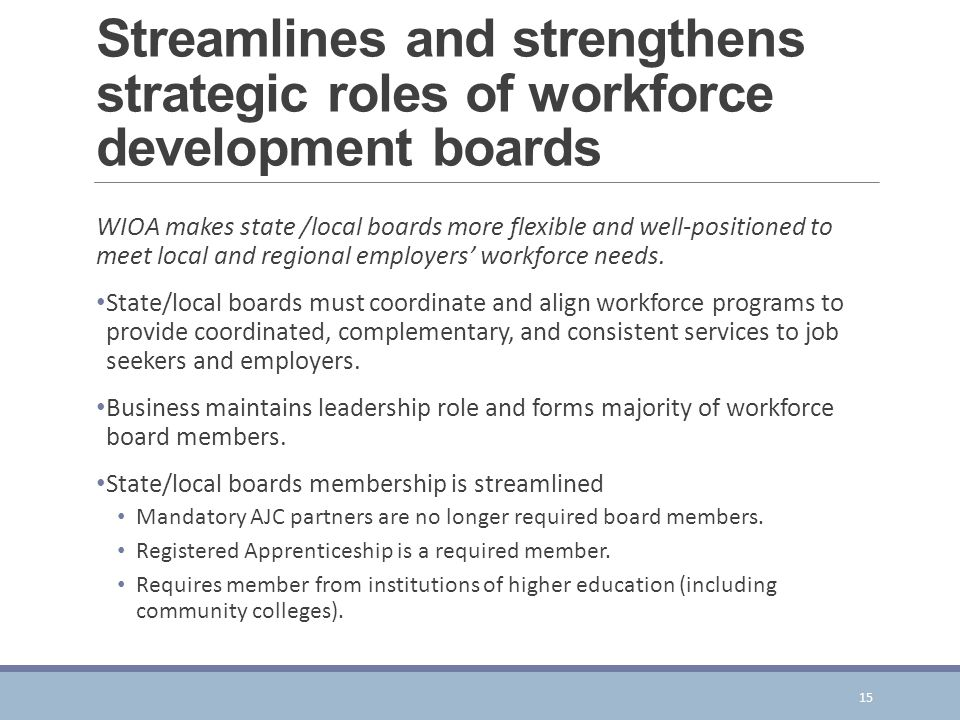 Streamlines and strengthens strategic roles of workforce development boards
