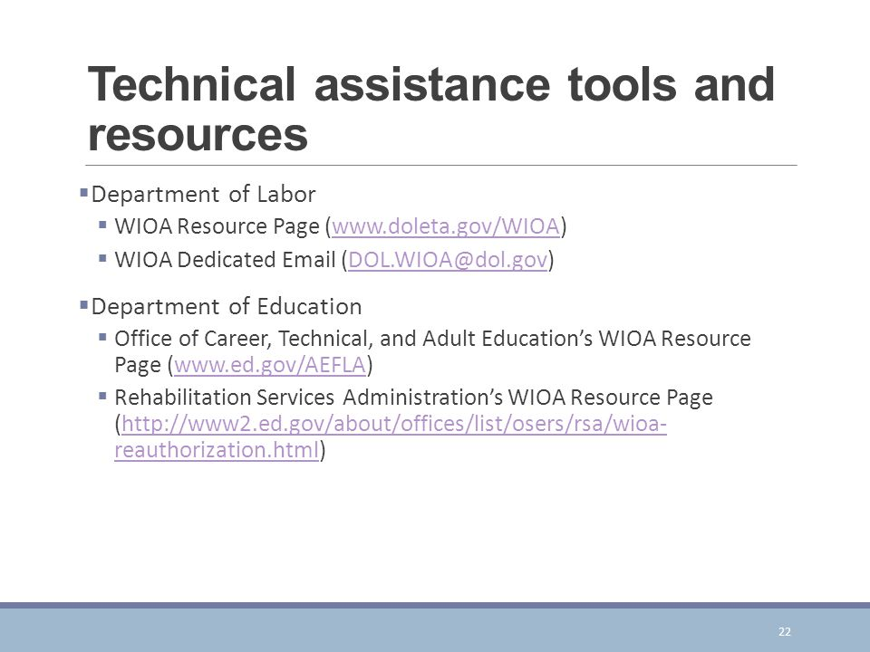 Technical assistance tools and resources