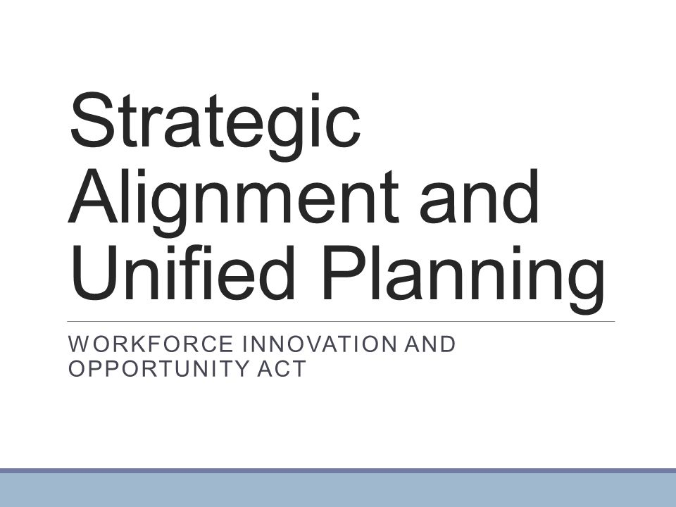 Strategic Alignment and Unified Planning