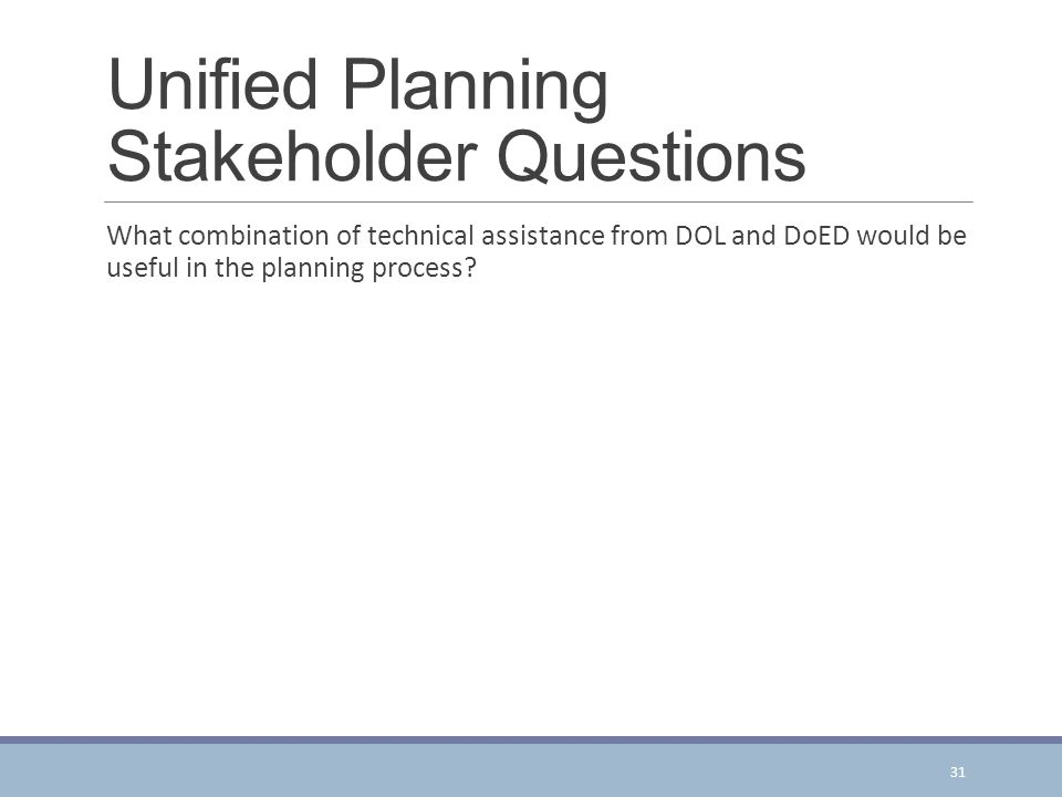 Unified Planning Stakeholder Questions