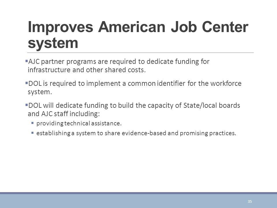 Improves American Job Center system