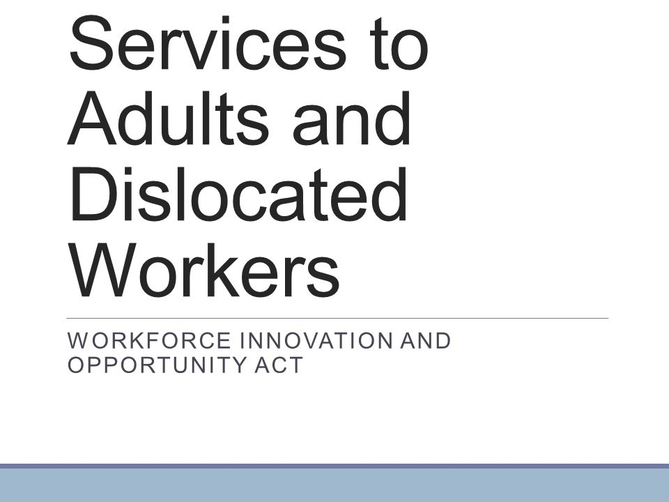 Services to Adults and Dislocated Workers