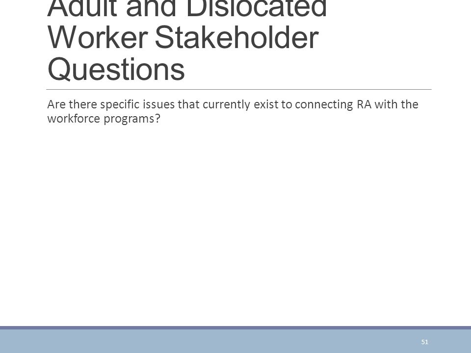Adult and Dislocated Worker Stakeholder Questions