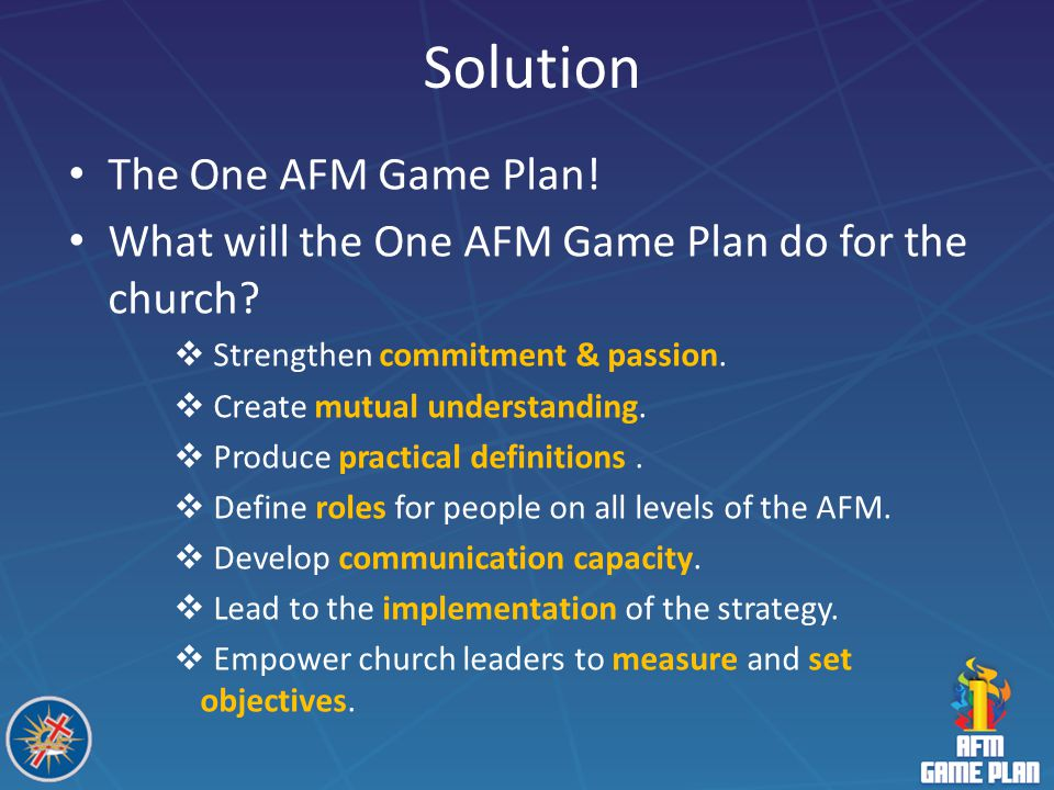 Solution The One AFM Game Plan!