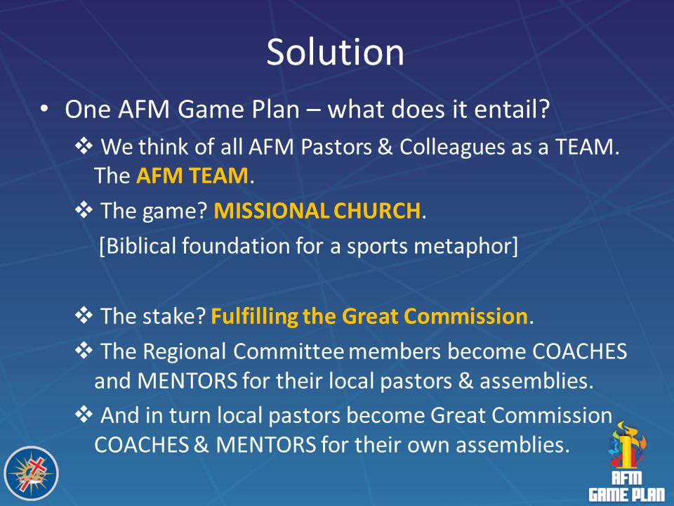Solution One AFM Game Plan – what does it entail