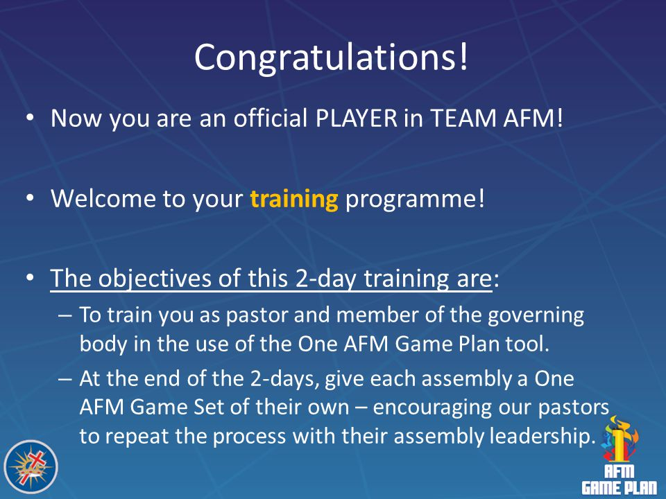 Congratulations! Now you are an official PLAYER in TEAM AFM!