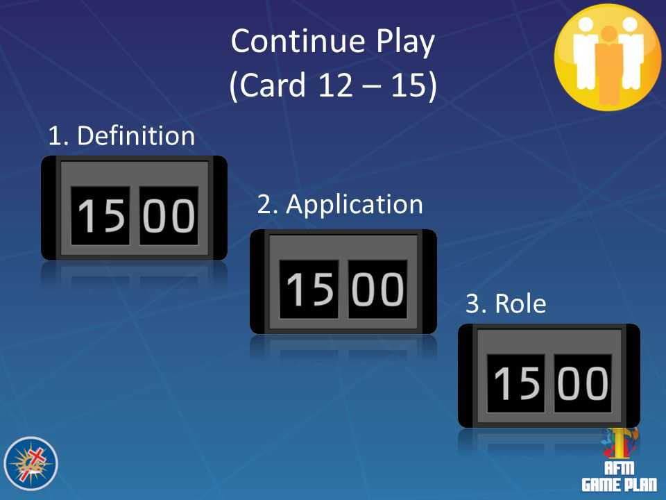 Continue Play (Card 12 – 15) 1. Definition 2. Application 3. Role
