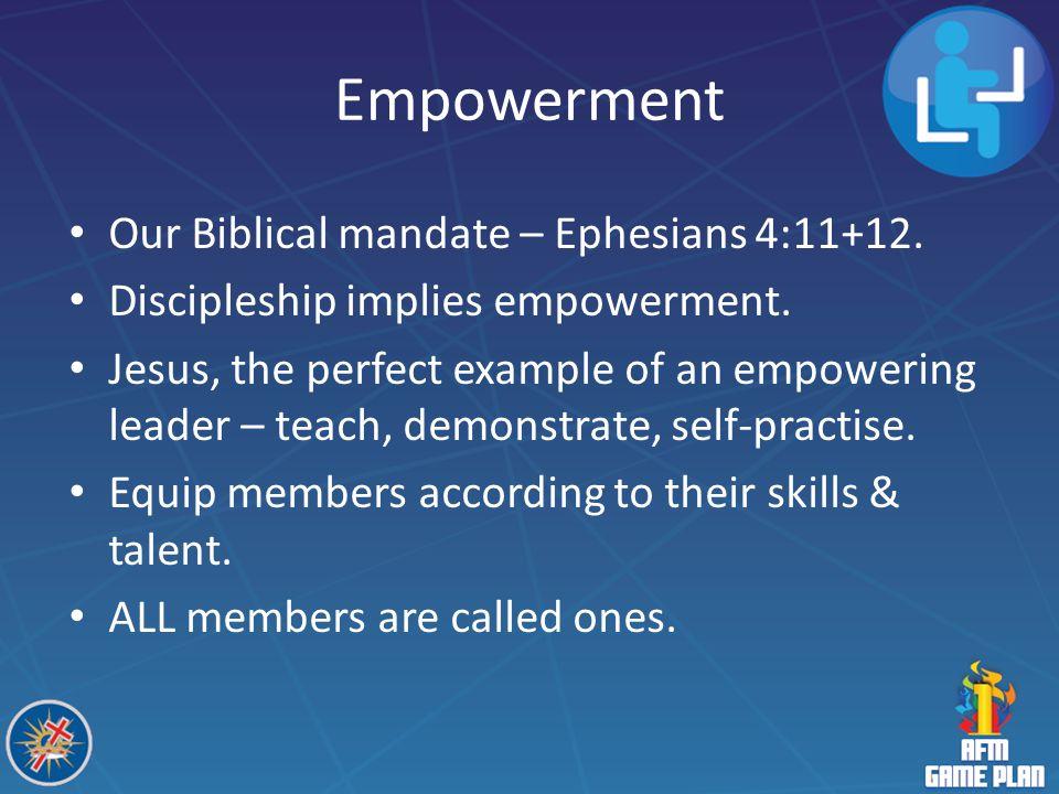 Empowerment Our Biblical mandate – Ephesians 4:11+12.