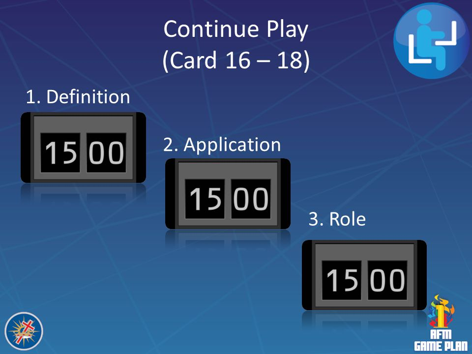Continue Play (Card 16 – 18) 1. Definition 2. Application 3. Role