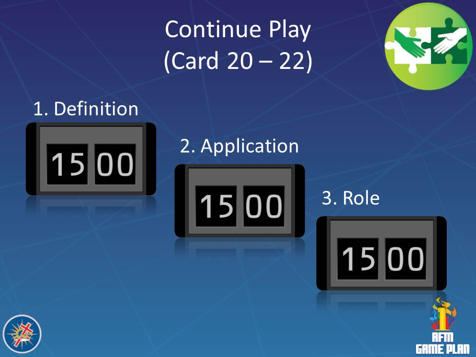Continue Play (Card 20 – 22) 1. Definition 2. Application 3. Role