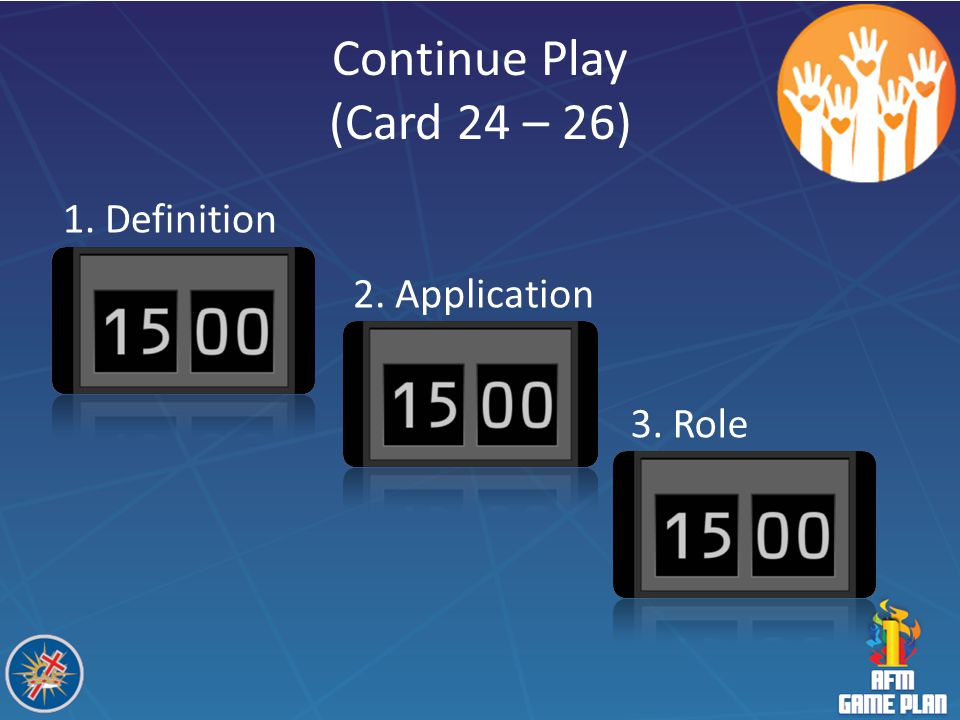 Continue Play (Card 24 – 26) 1. Definition 2. Application 3. Role