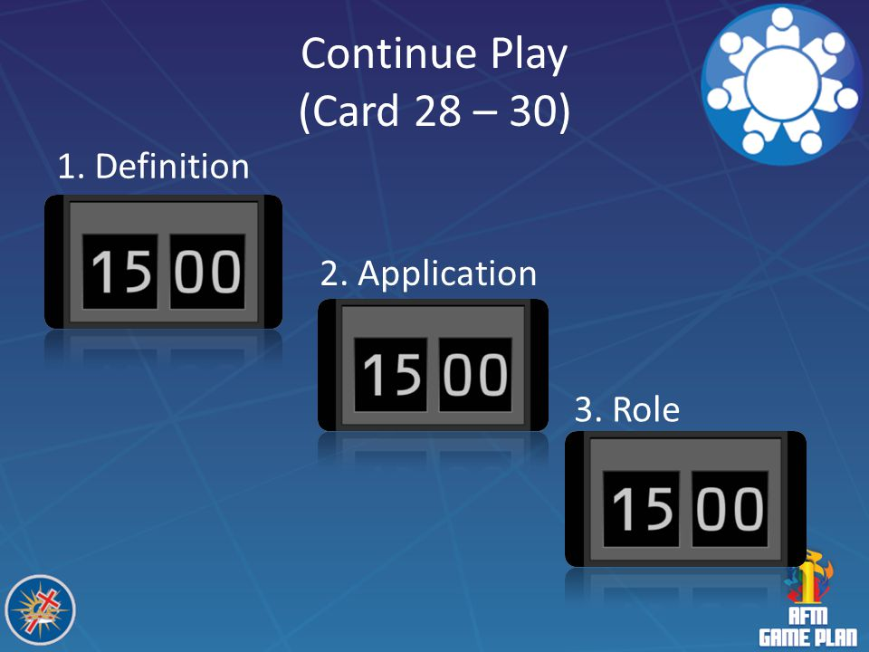Continue Play (Card 28 – 30) 1. Definition 2. Application 3. Role